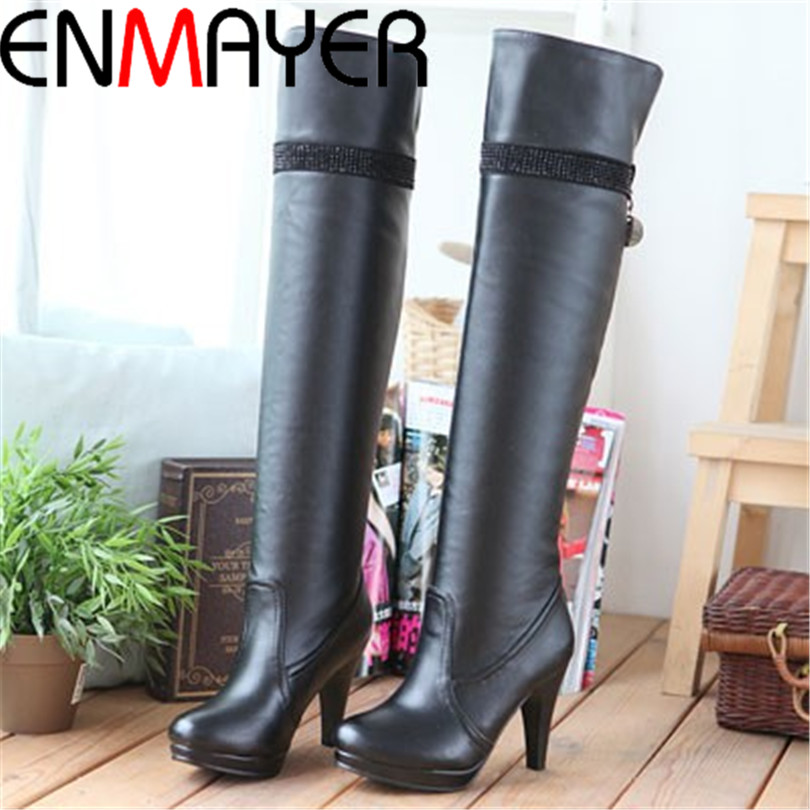 ENMAYER Sexy High Heels long boots Fashion Platform Knee High Winter Shoes Snow Sexy Soft Man-made PU Leather Knight Boots