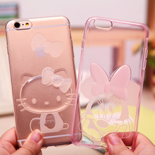 New Fashion Ultra thin Cute Cartoon Mickey Hello Kitty Stitch Cover Case for iPhone 6 6s 5 5S 6Plus 6S Plus Minnie Phone Cases