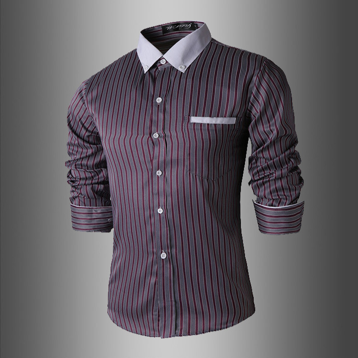Sale Mens Striped Shirts White Collar Bussiness Slim Fit