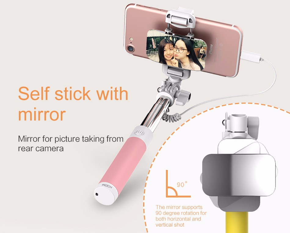 ROCK Portable Mini Selfie Stick for iPhone 8 7 plus, Phone Wired control Extendable Self-timer monopod Holder for iPhone X