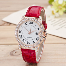 2016 High Quality Fashion Watches Women Leather Leisure Rome Dial Quartz Wristwatches Female Casual Bracelet Watch Ladies