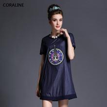 2015 summer o-neck medium-long short-sleeve loose denim Dress fashion plus size one-piece dresses 14