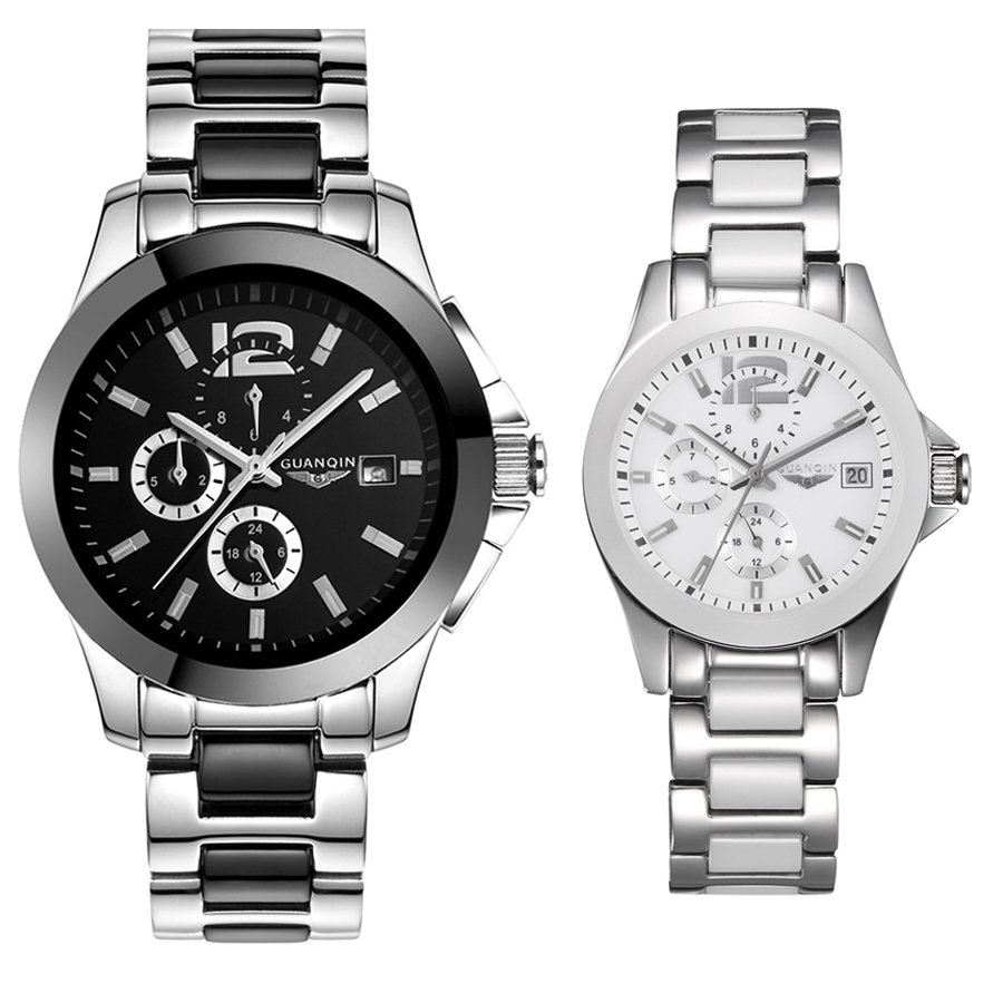 Brand 2pcs/set lovers Couple Watches Men's watch women watched self-winding Automatic mechanical Calendar classic Ceramic strap