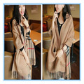 New Autumn Winter Scarf Brand Plaid Scarf Shawl British Style Double Sided Pattern Pocket Cashmere Women