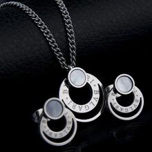 Fashion Jewelry 316l Stainless Steel Shell Jewelry Set  Women Necklace Earrings Set - SKBTQ(China (Mainland))
