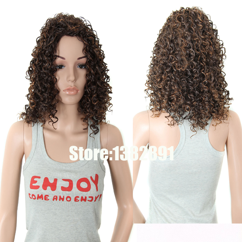 Cheap Long Curly Wigs None Lace Synthetic Kinky Curly Wig 30# Medium Auburn or Black Afro Kinky Curly Wigs For Girls Black Women