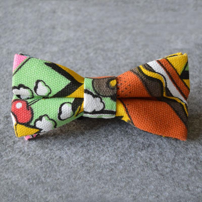 Men's Canvas Cartoon Bow Tie Casual Flower Striped Neck Tie for Wedding Party Cravat Gravatas Slim Suits Bowties Neckwear(China (Mainland))