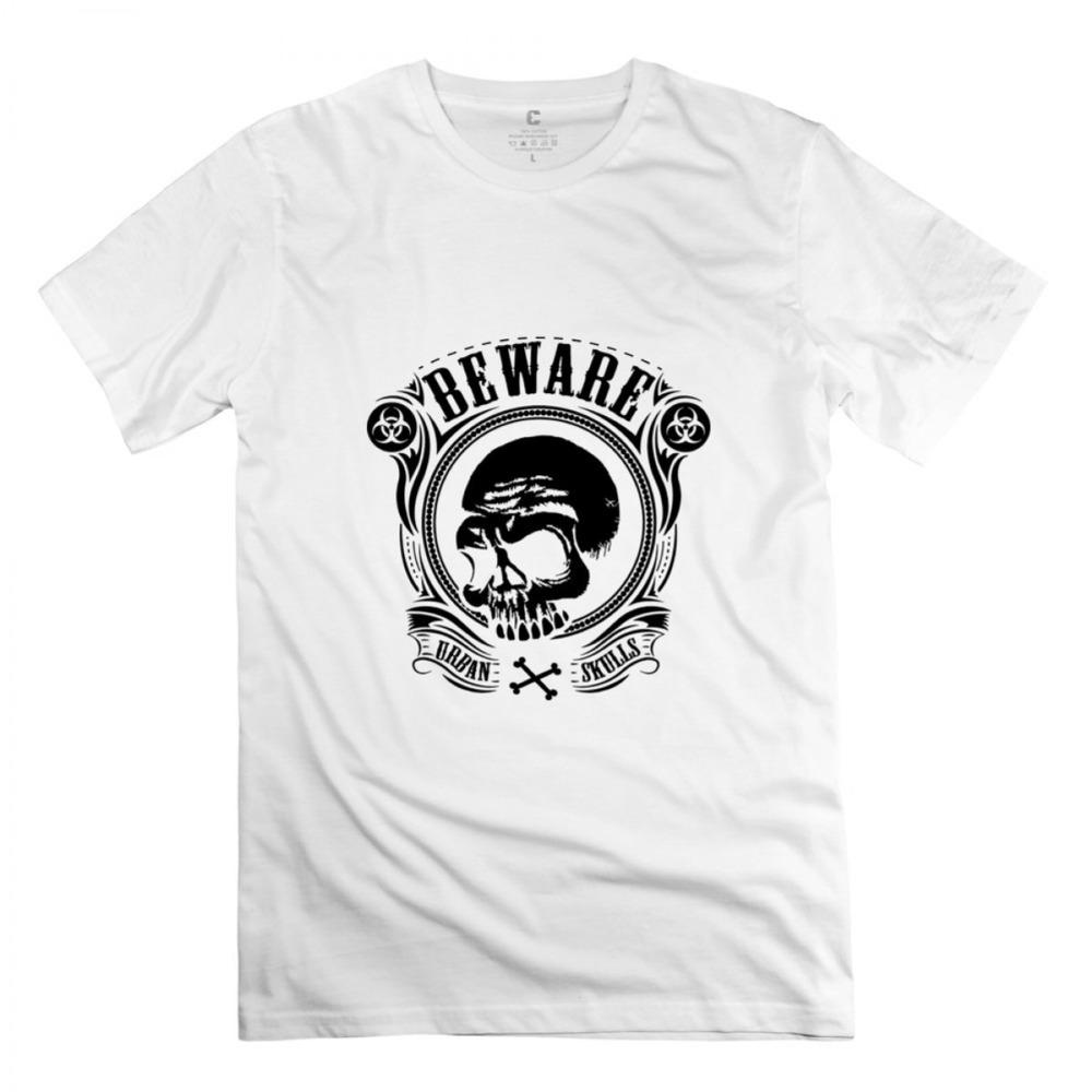 2015 Beware Urban Skulls Pirates Zombies White Adult Standard Weight T-shirt For Men(China (Mainland))