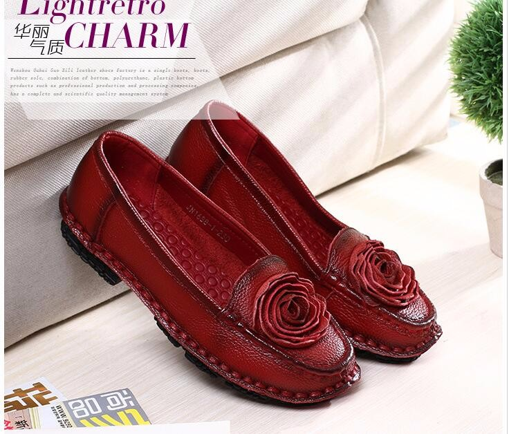 Leather Shoes 2016 New Autumn Fashion Flowers Shoes Round Toe Flats Shoes A Pedal Lazy Shoe Free Shipping