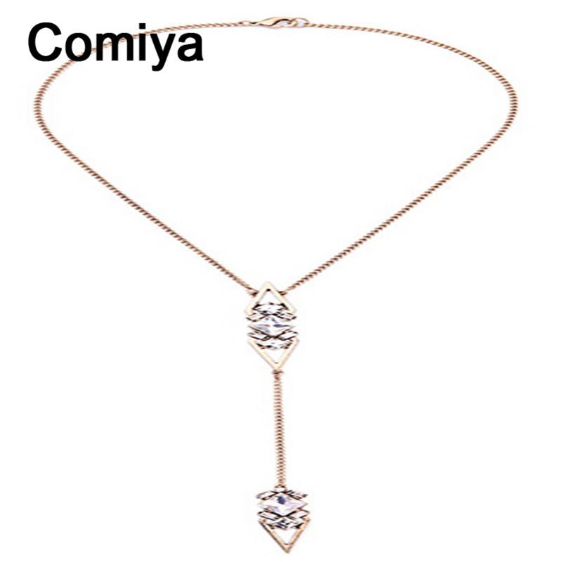 Comiya long pendants rhinestone geometric colar feminino gold plated chain piercing hollow zinc alloy collares mujer 2016(China (Mainland))