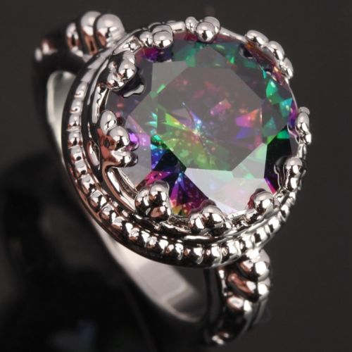 Details about mystic topaz Morganite Gems Wamen's COLORFUL Silver Rings US#Size6 7 8 9 T0817(China (Mainland))
