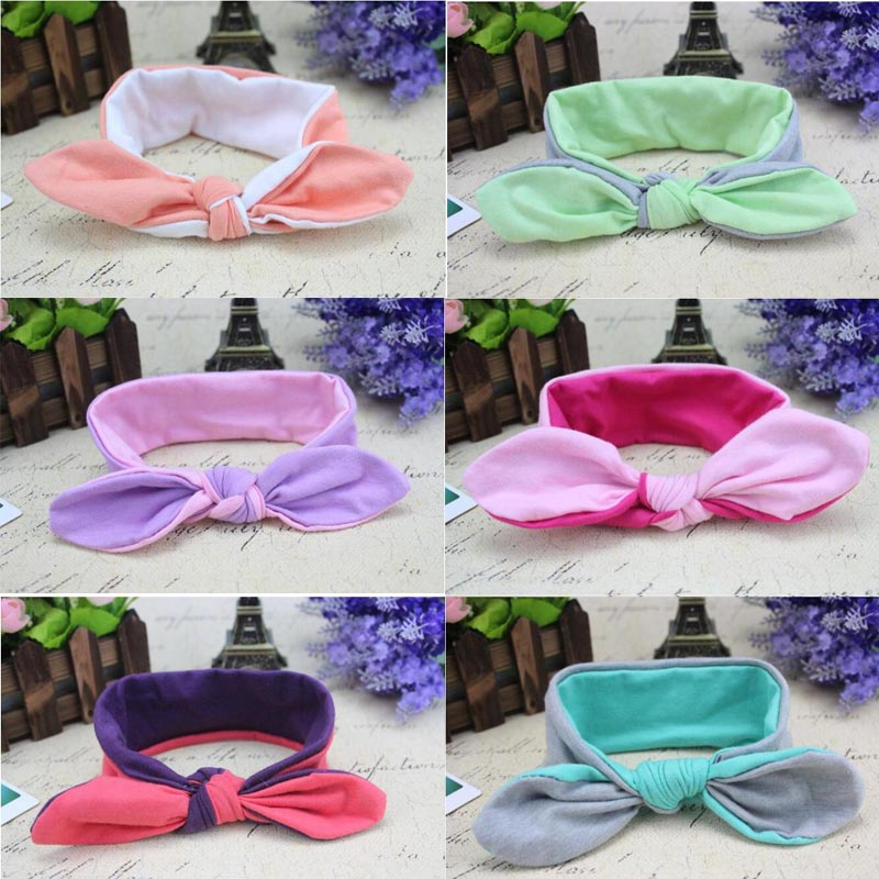 13 colors Baby headband cotton Hair Accessories Girl double color Headwear Baby turban rabbit Headband Children headwrap(China (Mainland))