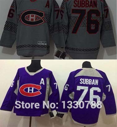 Christmas gift! Montreal Canadiens #76 PK SUBBAN Jersey Gray Charcoal Cross Check Purple Practice Premier Stitc