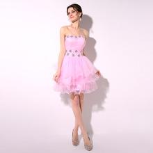 100% réel Image chérie Lace Up retour perles de cristal court Organza robes de bal Sexy mignon rose Homecoming parti robe(China (Mainland))
