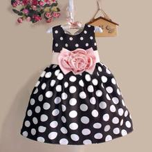 2016 Summer Baby Kids Kid Princess Dress Girls Party Wedding Polka Dot Flower Gown Fancy Dress 2-7Y