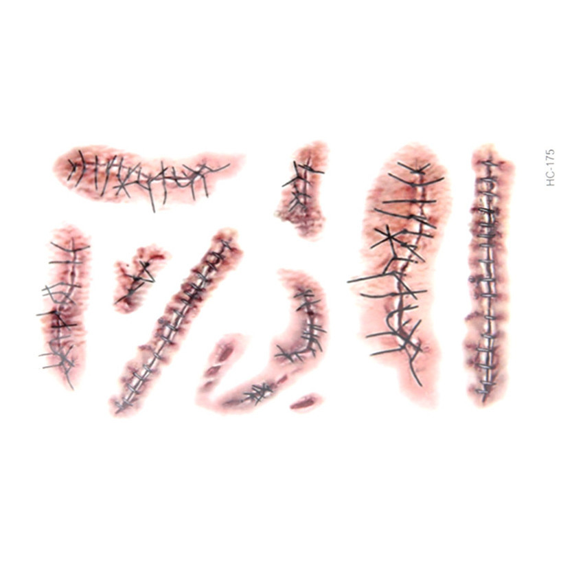Fabulous 2015 1pc mischievous tattoo sewing needle scars for Fake wound tattoos
