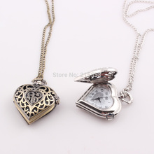 2015 New Retro Bronze Quartz Necklace Chain Peach Heart Hollow Pendant Pocket Watch Vintage Antique Fob Watches(China (Mainland))
