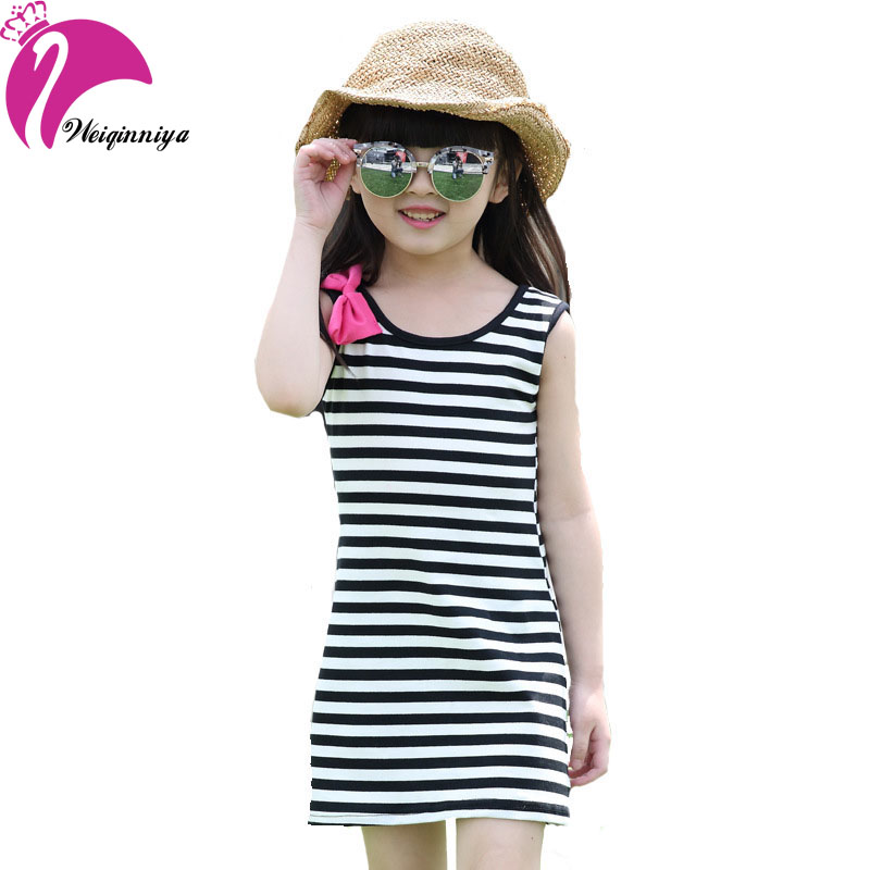New Casual Style 2016 Baby Girls Dress Stroped Bow Seeveless Rainbow Cotton Dresses Children's Summer Clothes Vestido Infantil(China (Mainland))