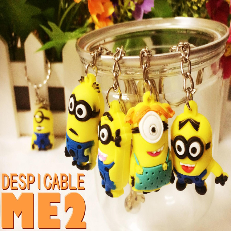 Has 10 little yellow people 3D Despicable Me Key chain Movie Anime toys Figure Pendants 10 pendants sold together(China (Mainland))