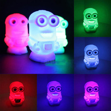 New Lovely Color Changing Colorful Night Light Lamp Toy Despicable Me 2 Minions Toy Gift Colorful Light(China (Mainland))