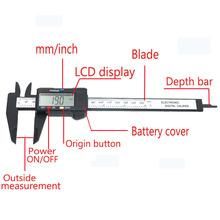 QSTEXPRESS New Arrival 150mm 6 inch LCD Digital Electronic Carbon Fiber Vernier Caliper Gauge Micrometer Measuring Tool(China (Mainland))