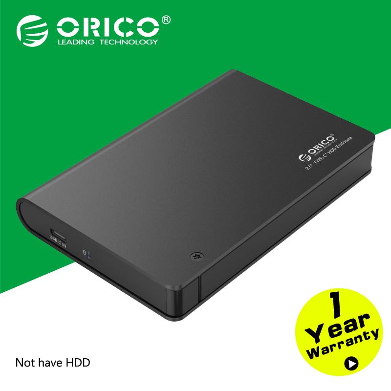 "ORICO 2598C3 Aluminium 2.5"" SATA3.0 USB3.0 HDD&SSD Enclosure Type-c Hard Disk Box Support UASP & 9.5mm&12.5mm 2TB HDD&SSD-Black(China (Mainland))"