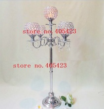4pcs/lot wedding event Romantic crystal 5 head table crystal Candle holders centerpiece stands H90cm(China (Mainland))