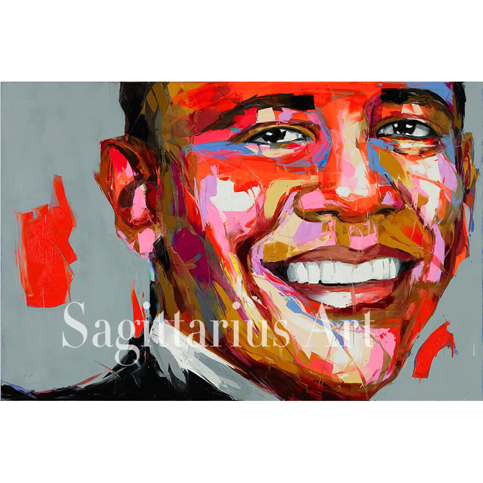 Palette knife painting portrait Hand Painted Francoise Nielly Designer Barack Obama Oil painting on canvas Cool Face Fine Art(China (Mainland))