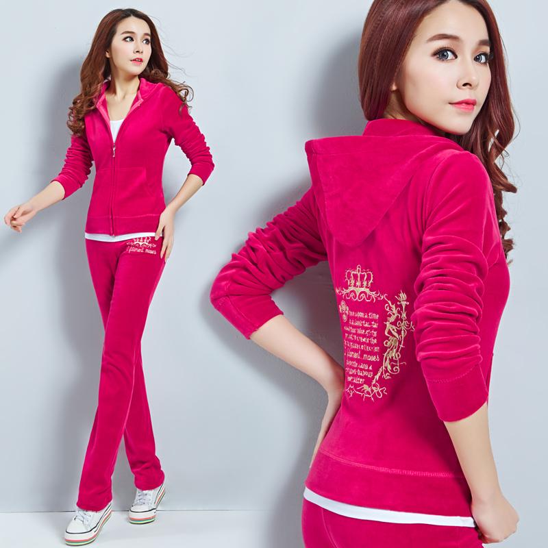 2016CN Free Shipping Women's Brand Velvet Tracksuits,Women Velours Suits,Sport Tracksuits,sweatshirt Hoodies & Pants moletom(China (Mainland))