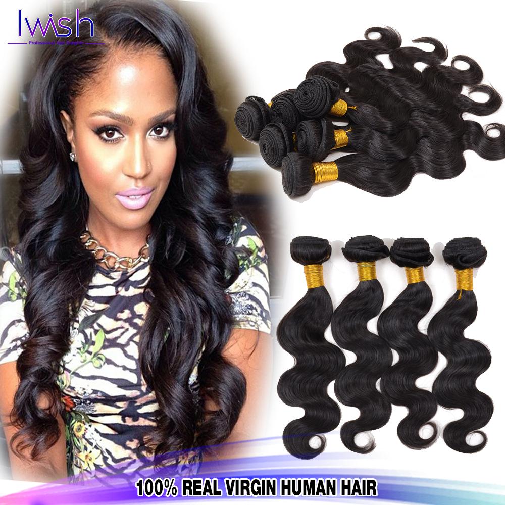 Brazilian Virgin Hair Body Wave Brazilian Body Wave 3Pcs VIP Beauty Hair Products Iwish Brazilian Body Wave Human Hair Weave(China (Mainland))