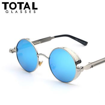 Gothic Steampunk Mens Sunglasses Coating Mirrored Sunglasses Round Circle Sun glasses Retro Vintage Gafas Masculino Sol
