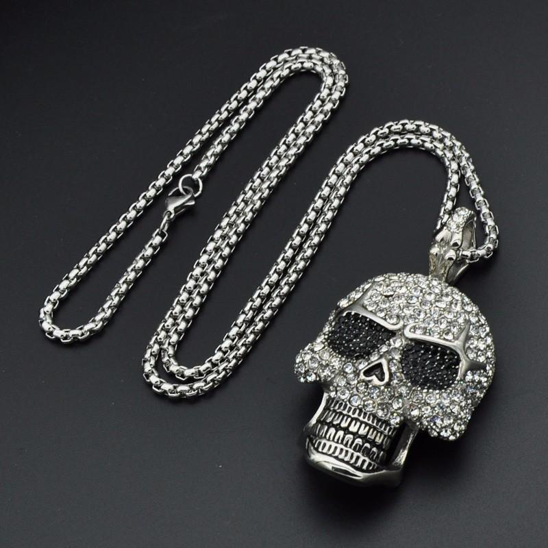 Titanium Stainless Steel Rhinestone Skeleton Skull Pendant Necklace