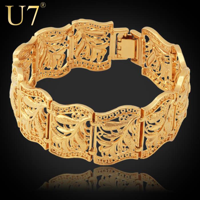 Vintage Bracelet Bangle Plant Pattern New Trendy Platinum/18K Real Gold Plated Women/Men Jewelry 20 CM 22 MM Wide Bracelet H406(China (Mainland))