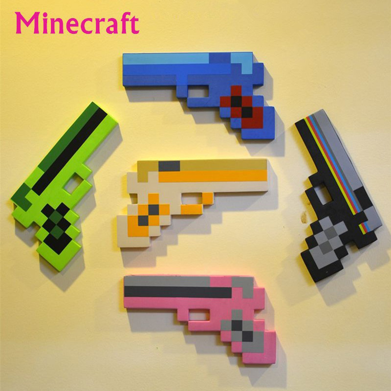 1pcs Minecraft Toys Minecraft Foam Sword Pickax Gun Toys Minecraft Gun Model Toys EVA Props Weapon Outdoor Toy for Kids Game(China (Mainland))