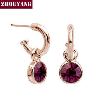 ZHOUYANG Top Quality ZYE416 Dark Purple Crystal  Rose Gold Plated Stud Earrings Jewelry   Austrian Crystal Wholesale