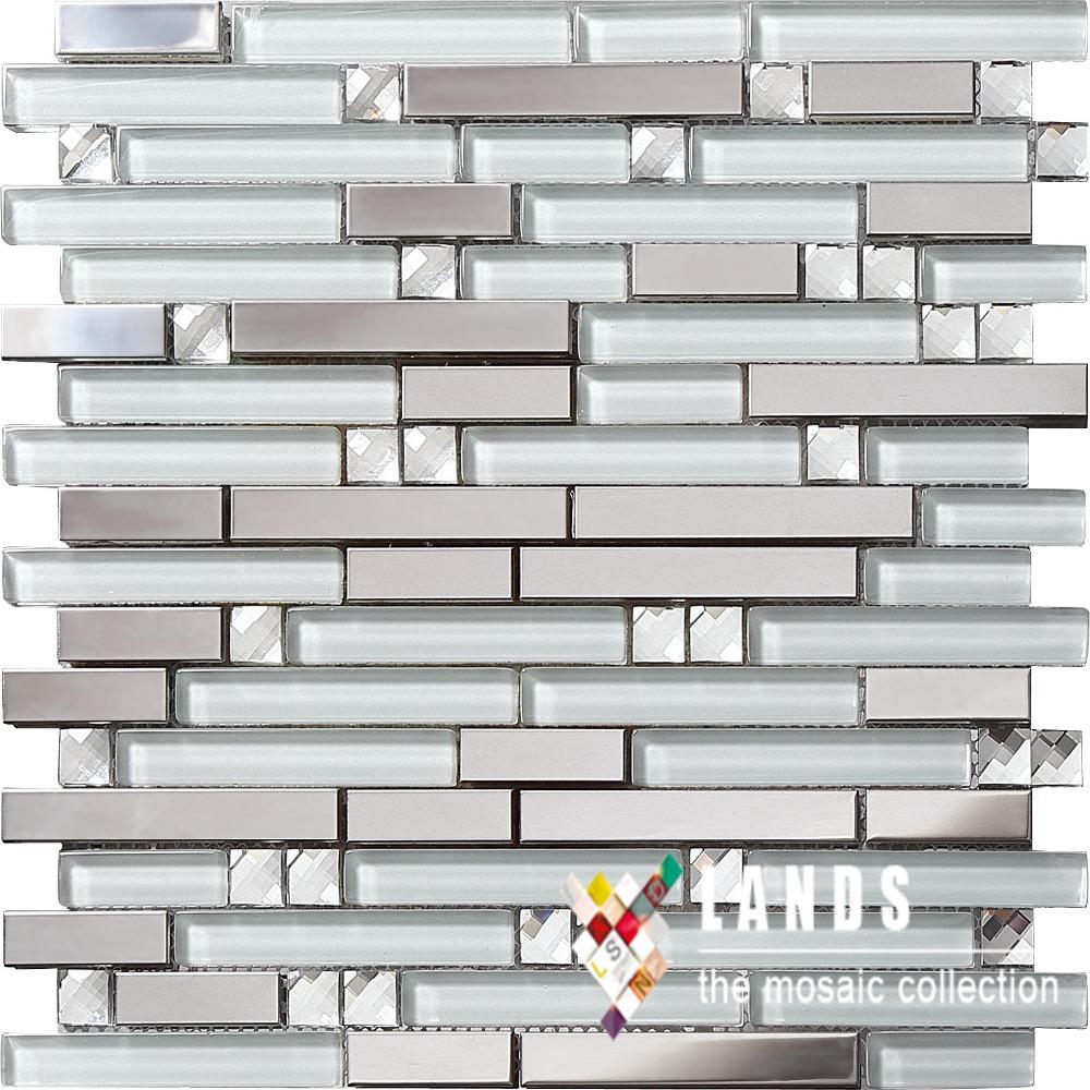 stainless steel metal glass mosaic tile kitchen backsplash bathroom
