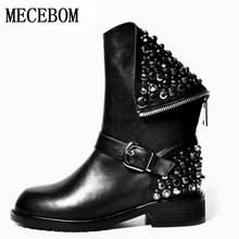 2017 de Alta calidad de LA PU + cuero genuino botas remaches tacones cuadrados otoño invierno botines sexy botas de piel de nieve zapatos mujer 4845 W(China (Mainland))