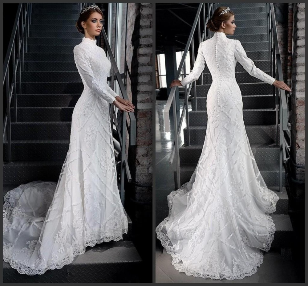 Muslim Wedding Dresses 2015 Mermaid Long Sleeve High Neck Bridal Gowns Lace C
