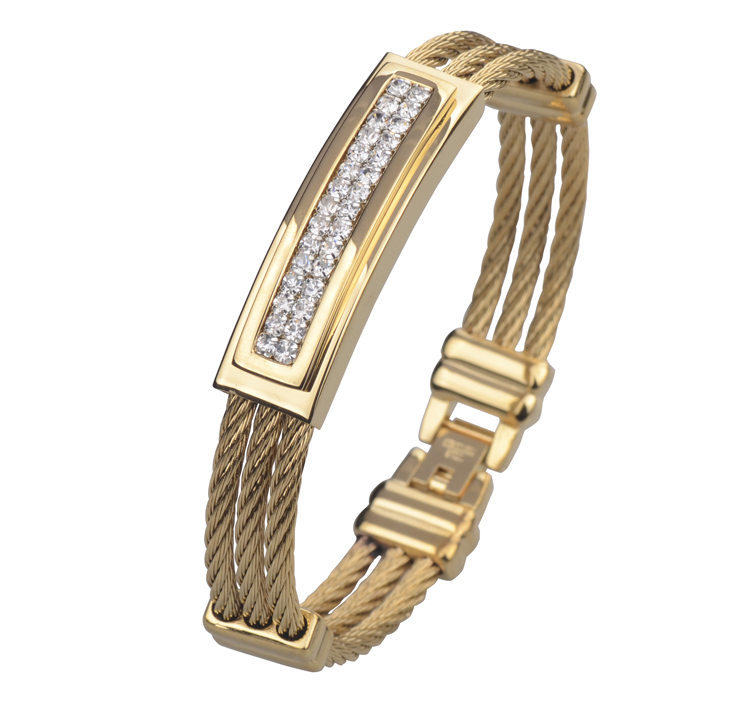 Full 18K Gold Plated Wire Cable Men's Crystal Bracelets Bangles Fashion Stainless Steel Men Jewelry 2015(China (Mainland))