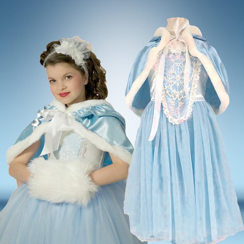 Retail 2015 new arrive girls winter dress, long sleeve snowflake dress, princess dress, 100% cotton elsa dress + hat shawl(China (Mainland))