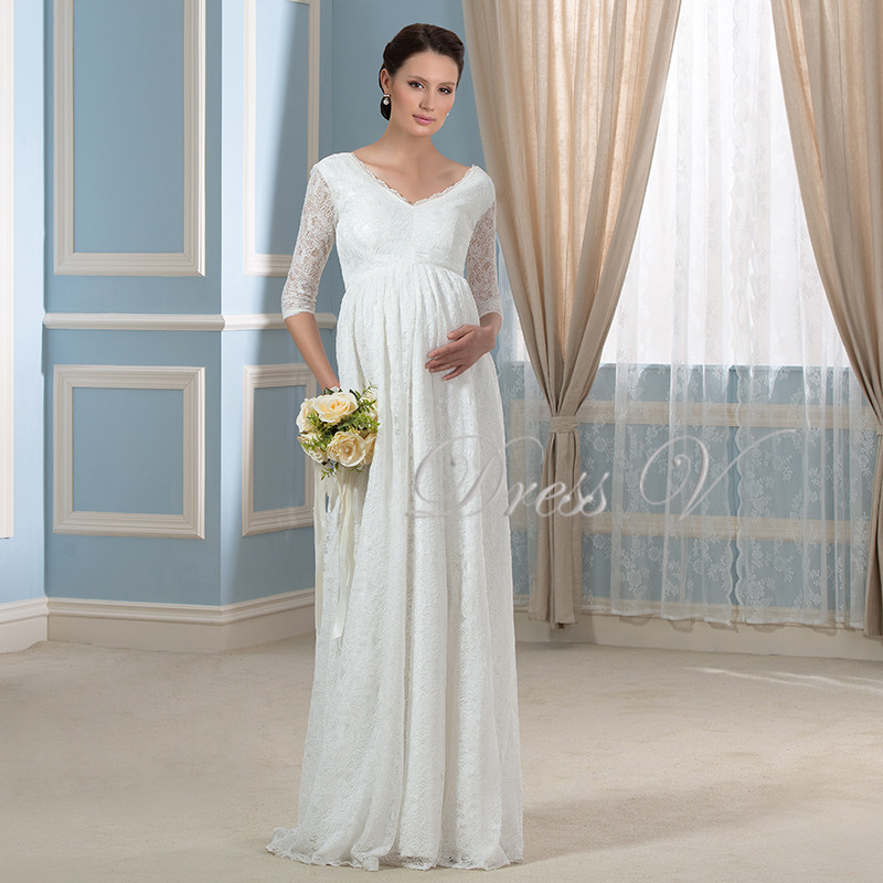 2016 Maternity Wedding Dresses For Pregnant White Lace V