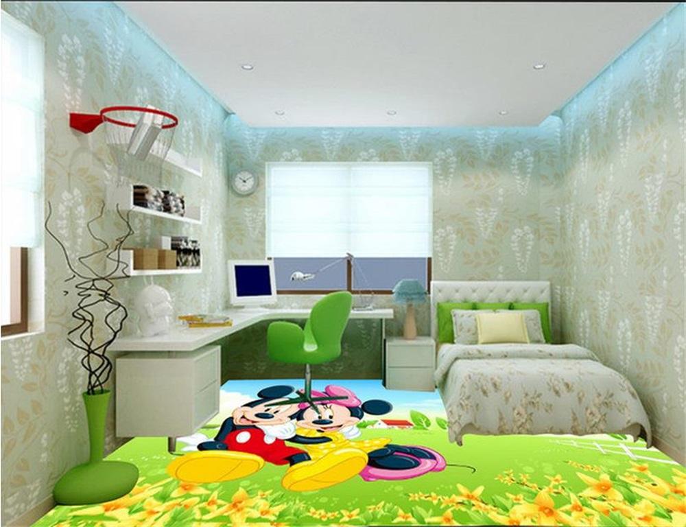 Custom 3 d PVC wallpaper photo wallpaper Beautiful spring Mickey Mouse image of children room floor wallpaper(China (Mainland))