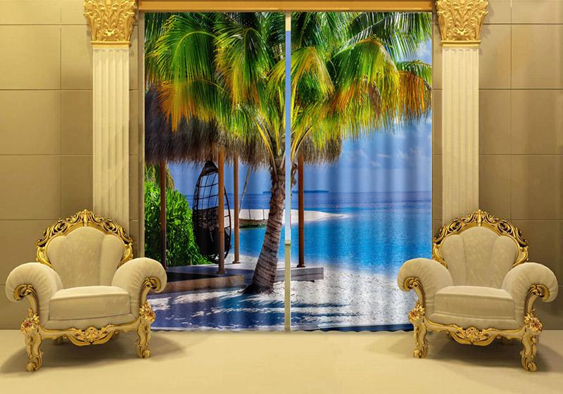 Custom European Mordon Style Top Quality Nature Window Curtains 3D Beach  Scenery Window Curtain Living Room