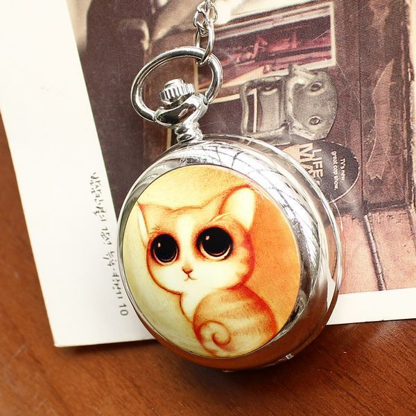 Manufacturers selling hot selling Birthday present large cute cat enamel table built-in large mirror quartz pocket watch DHTC010(China (Mainland))