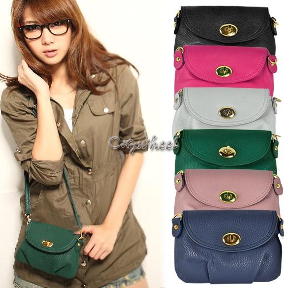 Free shipping 18 colors 2015 Korea New Women's Handbag Satchel Shoulder leather Messenger Cross Body Bag Purse Tote 24(China (Mainland))