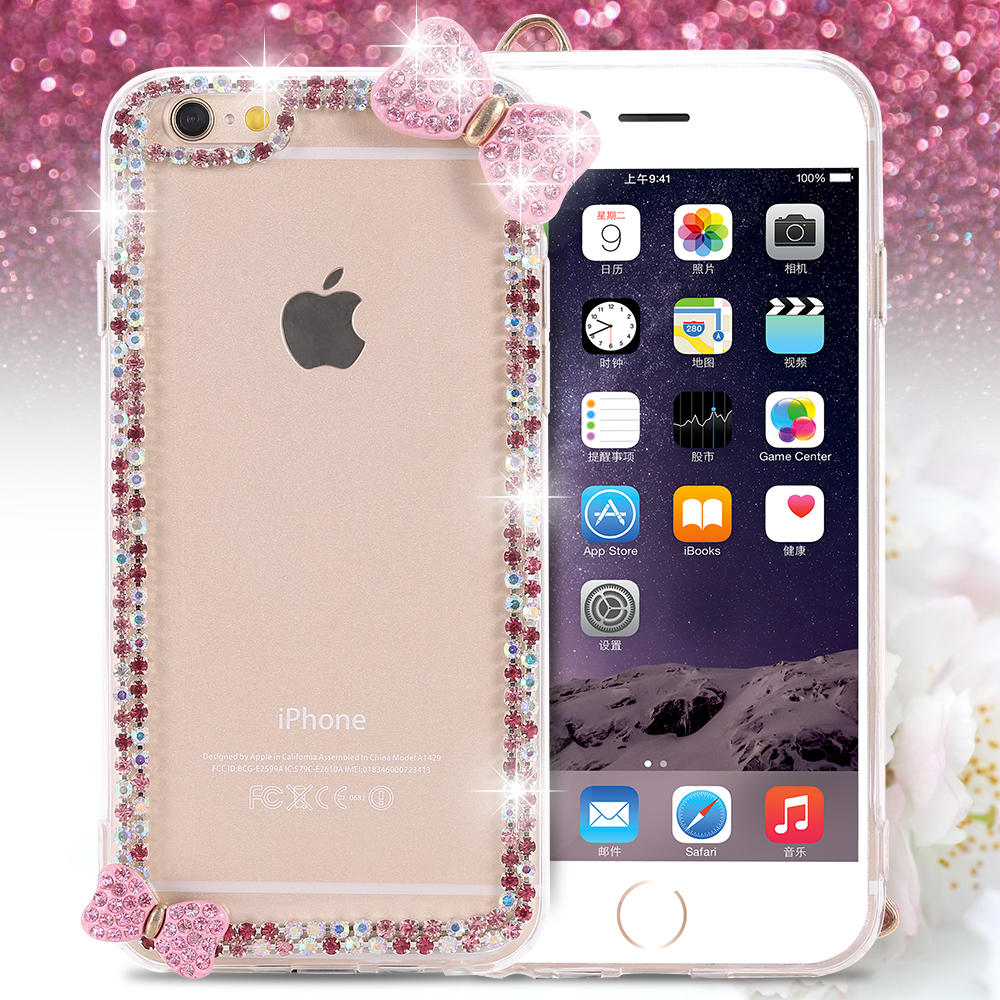 I6 Crystal Clear Case For Apple iPhone 6 4.7 inch Fashion Diamond Butterfly Bow Glitter Bling Rhinestone Mobile Phone Back Cover(China (Mainland))