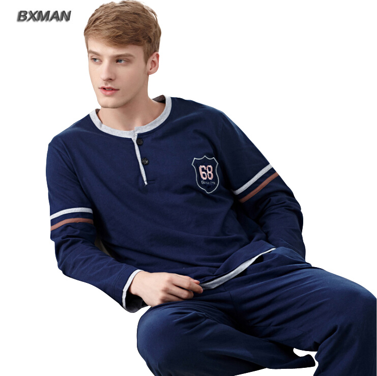 BXMAN Brand Men's Pijamas Hombre Simple Casual Pyjamas Men Cotton Solid O-Neck Full Sleeve Men Pajamas Sets Best for Lover 07(China (Mainland))