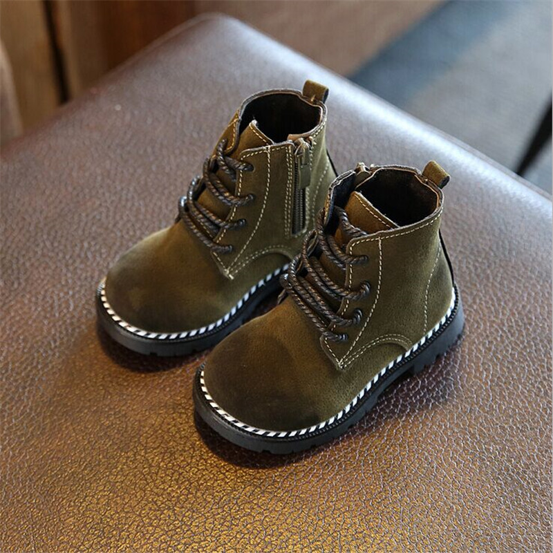 2017 New Children Rubber Boots For Girls Boys Leather Zip Martin Boots Breathable Fahion Kids Boots Baby Boys Girls Sneakers