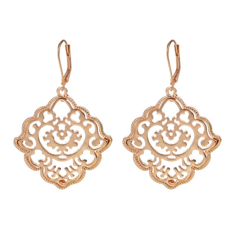 New Brand Design Bohemian Jewelry 18k Gold Silver Color Alloy Pierced Flower Drop Earring for Women Brincos Grandes Accessories(China (Mainland))