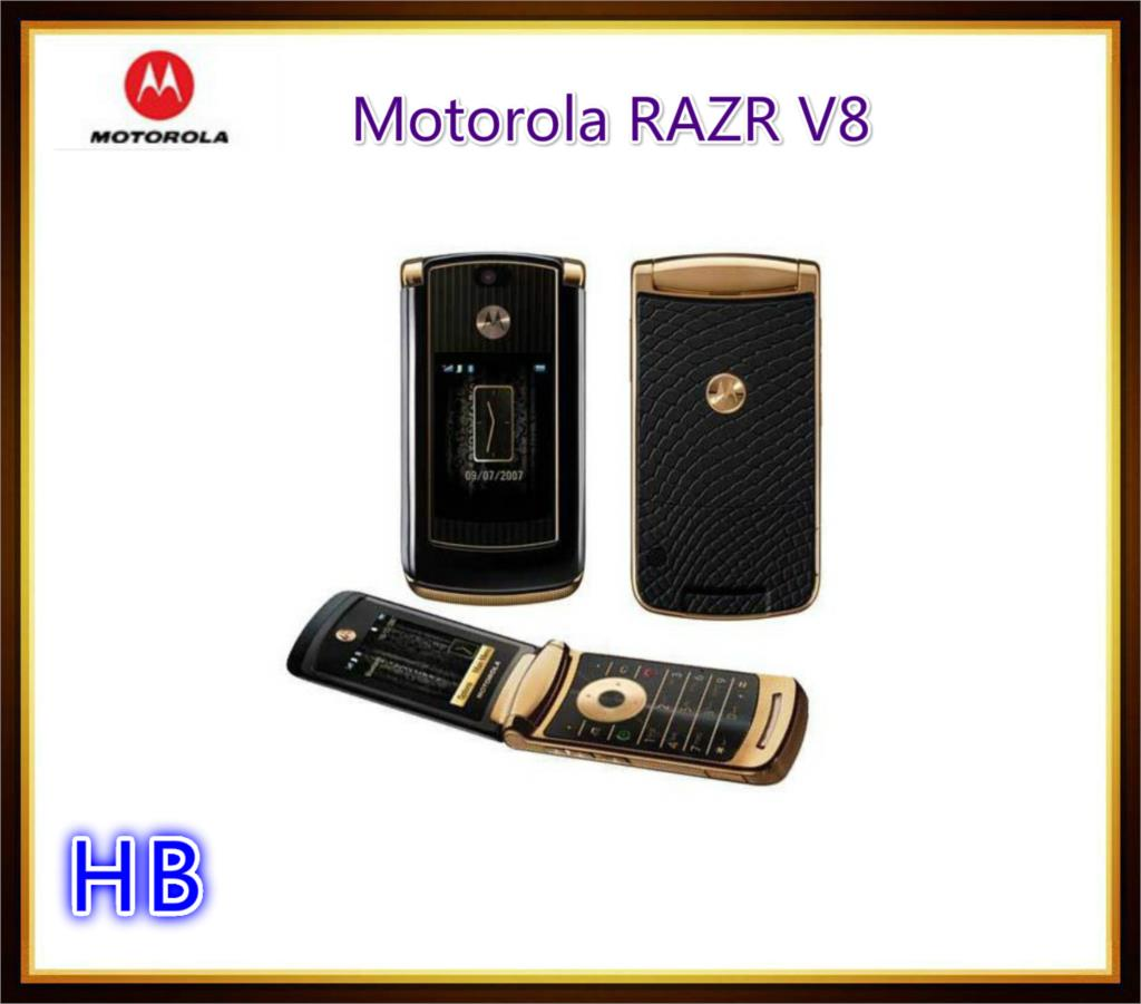 Hot sale original Motorola RAZR V8 2GB cell phone Gold luxury version with 512 or 2GB internal memory free shipping refurbished(China (Mainland))